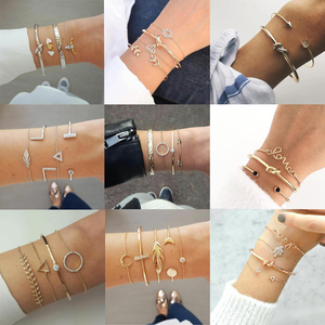 Tocona Elegance Bangle Bracelet for Women Jewelry Gold Silver Geometric Leaf Shiny Crystal Stone Animal Open Bohemian Jewelry(China)