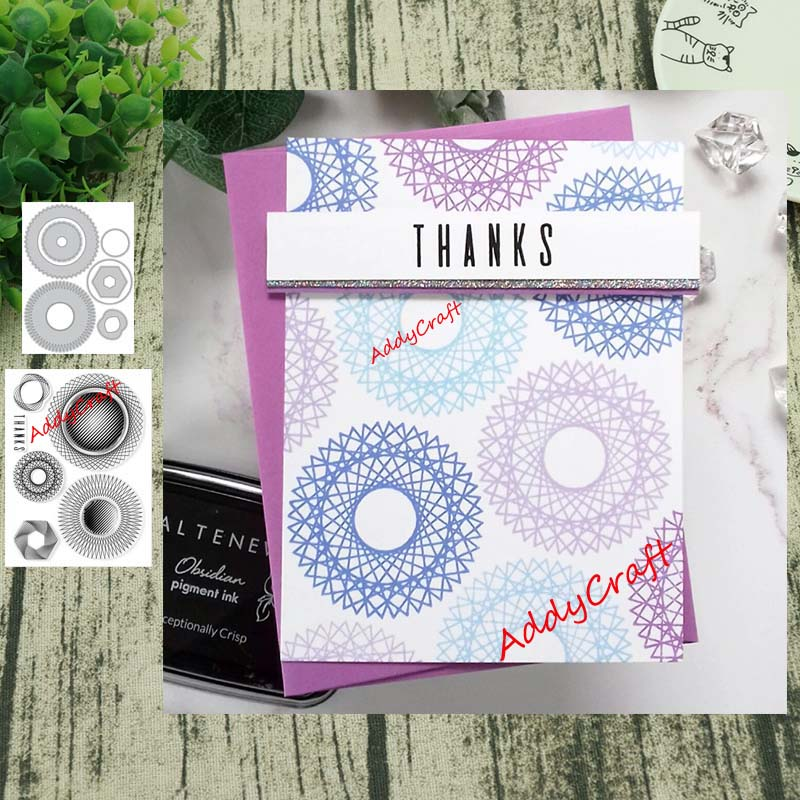 Geometric Gear Metal Cutting Dies And Clear Stamps Transparent Silicone Seal For DIY Scrapbooking Photo Album Decorative