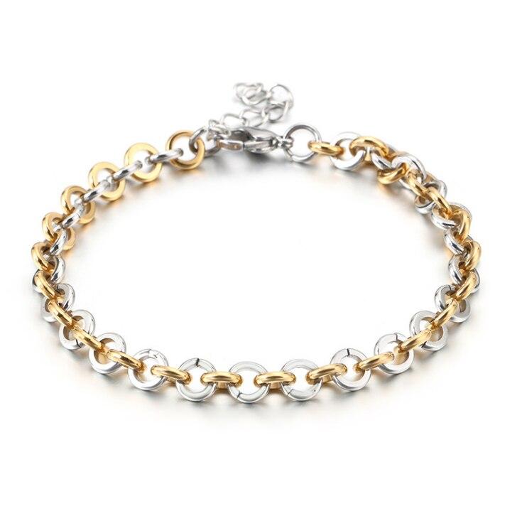 BAG93-28 --- or argent Bracelet en acier inoxydable 925 or couleur bijoux femmes cadeau accessoire de mode