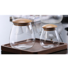 Mushroom Shape Glass Jar Grain Canister Sealed Food Storage Container for Loose Tea Coffee Bean