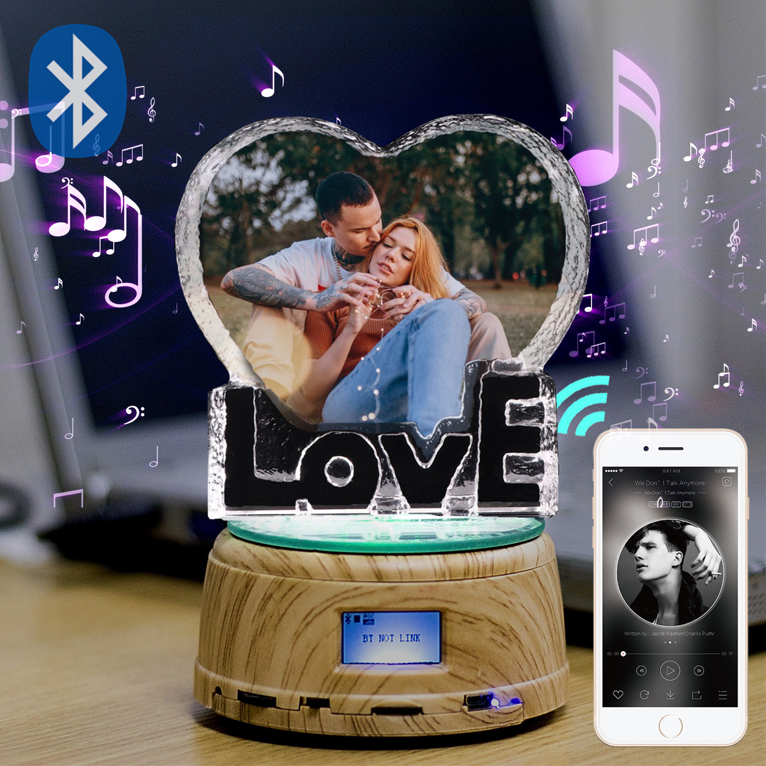 Custom K9 Love Crystal Color Photo Frame LED Night Light MP3 Bluetooth Music Box Rotary Jewelry Show Turntable Souvenir For Gift