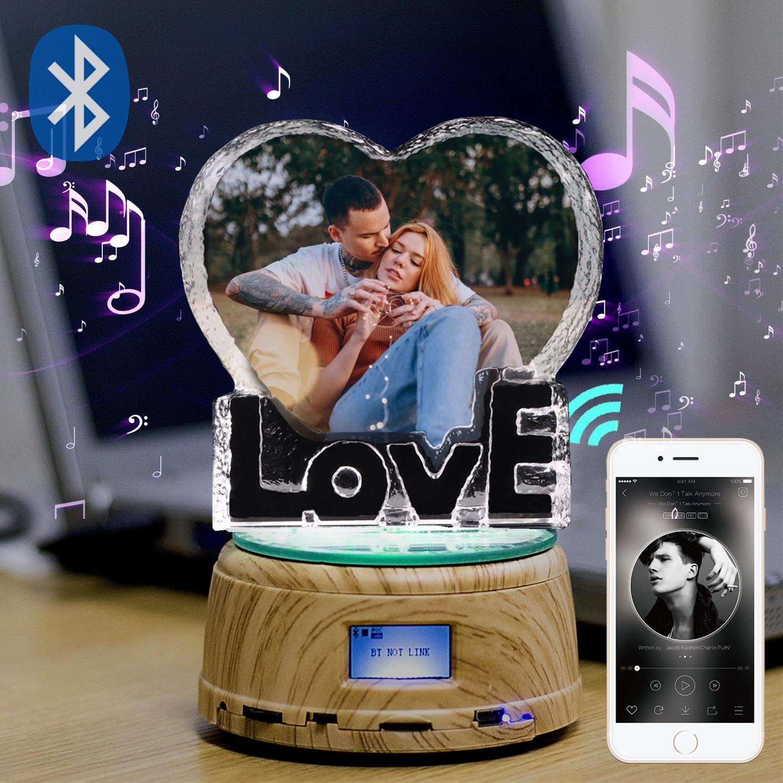 Custom K9 Love Crystal Color Photo Frame LED Night Light MP3 Bluetooth Music Box Rotary Jewelry