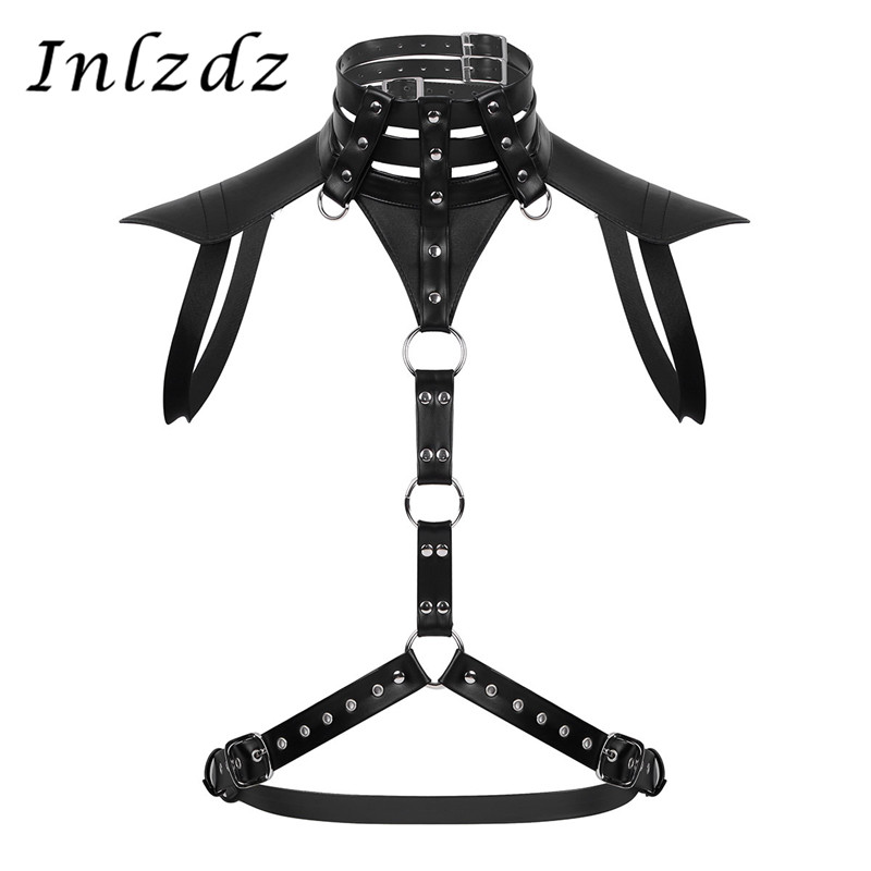 Mens Leather Harness Belt Halter Neck Adjustable Buckles Body Chest Harness Belt With Metal O-rings Male Fancy Costume Straps