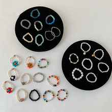 AOMU-Anillo de cuentas transparentes para mujer y niña, sortija con cuentas de colores coreanos Vintage para mujer y niña, regalos de joyería para vacaciones de fiesta 2020