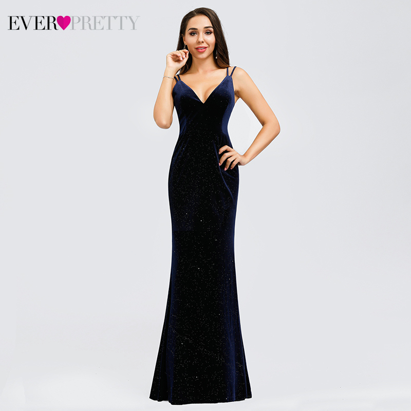 Elegant Mermaid Evening Dresses Long Ever Pretty EP00850NB V-Neck Spaghetti Straps Velour Sexy Party Gowns Vestido Longo Festa