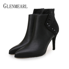 цены на Women Ankle Boots Winter Warm Shoes Female Brand Women Thin Heels High Heel Boots Slip On Pointed Toe Casual Shoes Plus Size 201  в интернет-магазинах