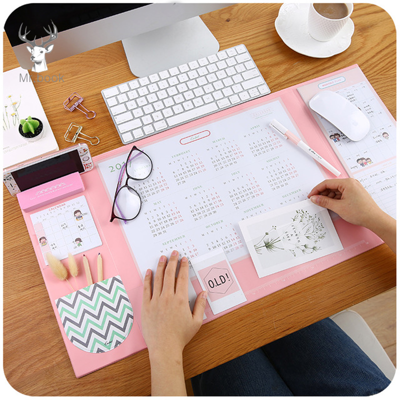 Candy Color Kawaii Multifunctional Pen Holders Writing Pad 2018 2020 Calendar Mat Learning Pad Office Mat Desk Decor Accessories
