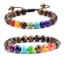 7 Chakra Beads Natural Lava Tiger Eye Stone Bracelet For Women Men Healing Balance Therapy Bracelets Jewelry Prayer Adjustable