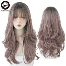 7JHH Fashion Ombre Brown Black Deep Wave Long Hair With Bangs Synthetic Wigs For Women Christmas Heat Resistant Thick Wig Gift