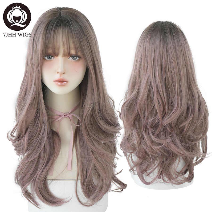 7JHH — Perruque synthétique à frange, cheveux ondulés, épais, et longs, coloration ombré brun ou châtain, résiste à la chaleur, cadeau de noël pour femme