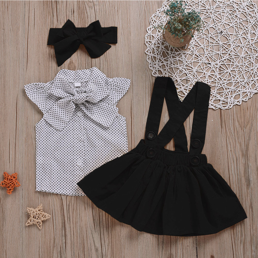 Hbc312b714ed14c978bb8a5d6b88cc946D - HE Hello Enjoy Baby Girls Clothes Sets Summer Dot Flying Sleeve Shirt+Strap Dresses+Headband Kids Children's Clothing Suit