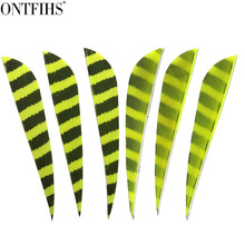 24 Pcs ONTFIHS 4 Drop Arrow Feathers Real Turkey Striped Plume Archery Accessories Fletching Feather for Arrows