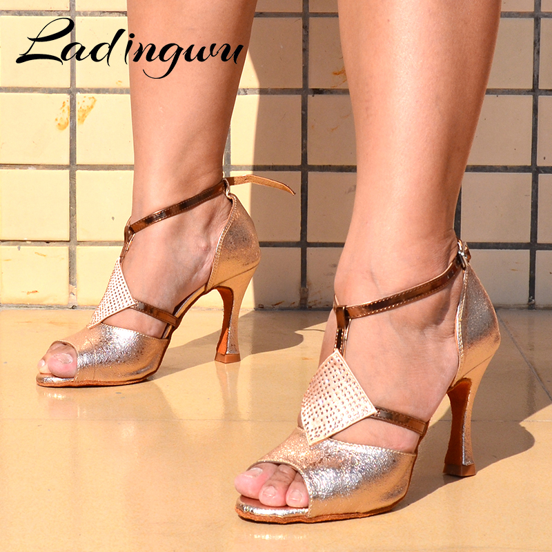 Ladingwu Ballroom Dance Shoes For Women Latin Dance Shoes Girls Ladys Salsa Dance Shoes Champagne Golden Texture PU And Rhinesto