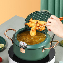 20cm Kitchen Deep Frying Pot Thermometre Tempura Fryer Pan Temperature Control Fried Chicken Pot Cooking Tools Kitchen