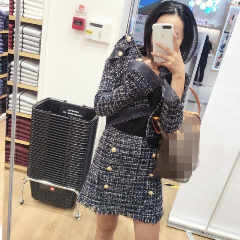 Autumn 2020 New Chic Elegant Womens Plaid Short Tweed Coat & Tassel Mini Skirt Two Piece Set Fashion Office Ladies Skirt Set