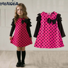 Menoea Girls Dresses Spring Children Clothing Autumn Dot Girls Costume Long Sleeve Bow Fashion Princess Dress Kids Clothes high quality dresses and coat winter autumn baby wear clothes girls clothing long sleeve warm children dress child clothing