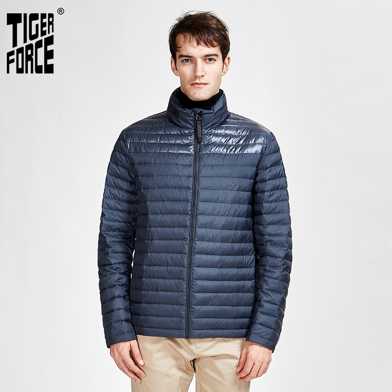 TIGER FORCE 2020 New Spring And Autumn Men's Warm Casual Jacket High Quality Hood  Coat Outerwear Zipper Down Ultralight 50601