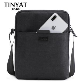 TINYAT Men's Bags Light Canvas Shoulder Bag For 7.9' Ipad Casual Crossbody Bags Waterproof Business Shoulder bag for men 0.13kg