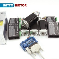 4 Axis NEMA23 425oz in Dual shaft stepper motor&256 microstep steppr motor driver for CNC Router Miiing machine