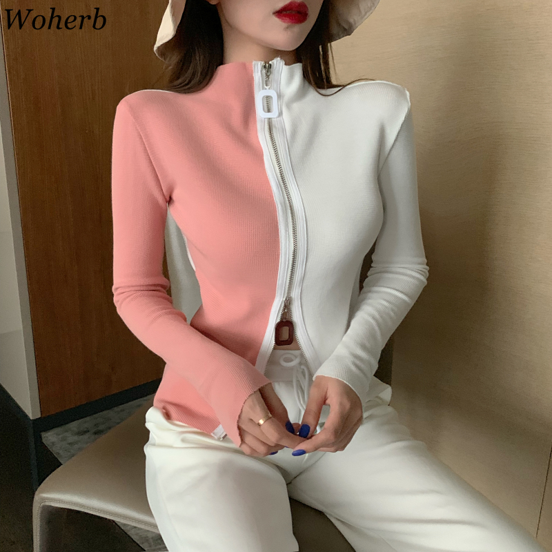 Woherb Sweater Women Contrast Color Zipper Cardigan Half Turtleneck Long Sleeve Slim Short Knit Tops Korean Fashion New 90926