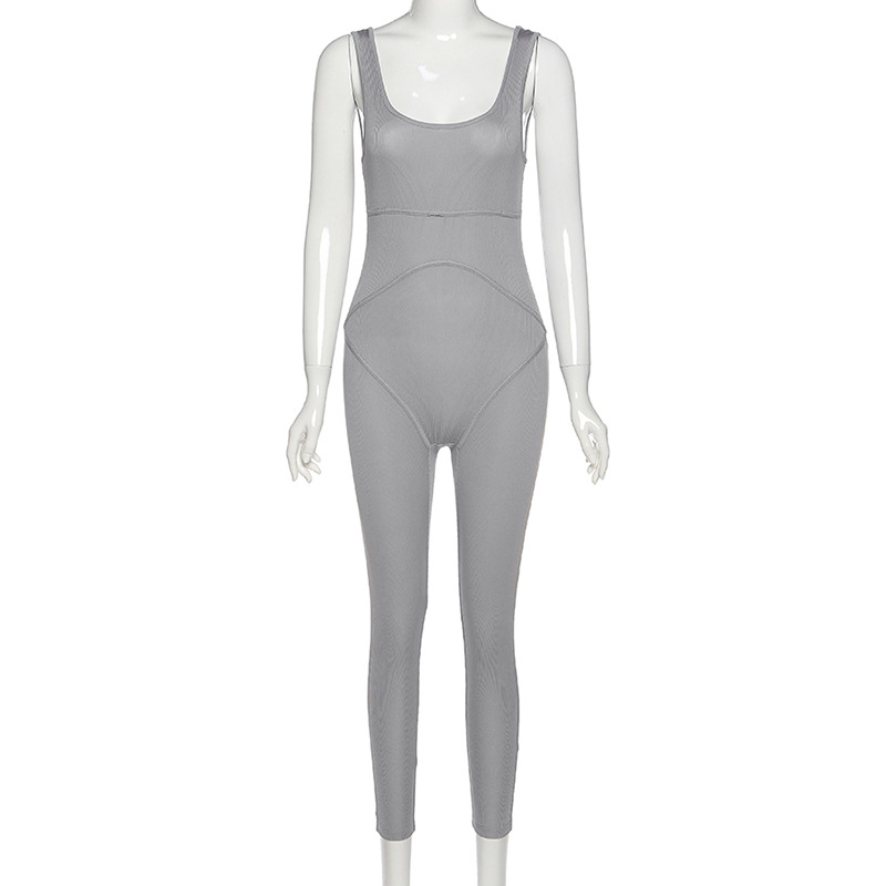 Top Sale‡Gtpdpllt Jumpsuit Backless Active-Wear Rompers Womens Ribbed Fitness Bodycon Casual Fashion