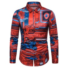 Korean Shirt, Sculpture Flower Hawaiian Net Red Long Sleeve Mens Shirt Sleeves Dress for