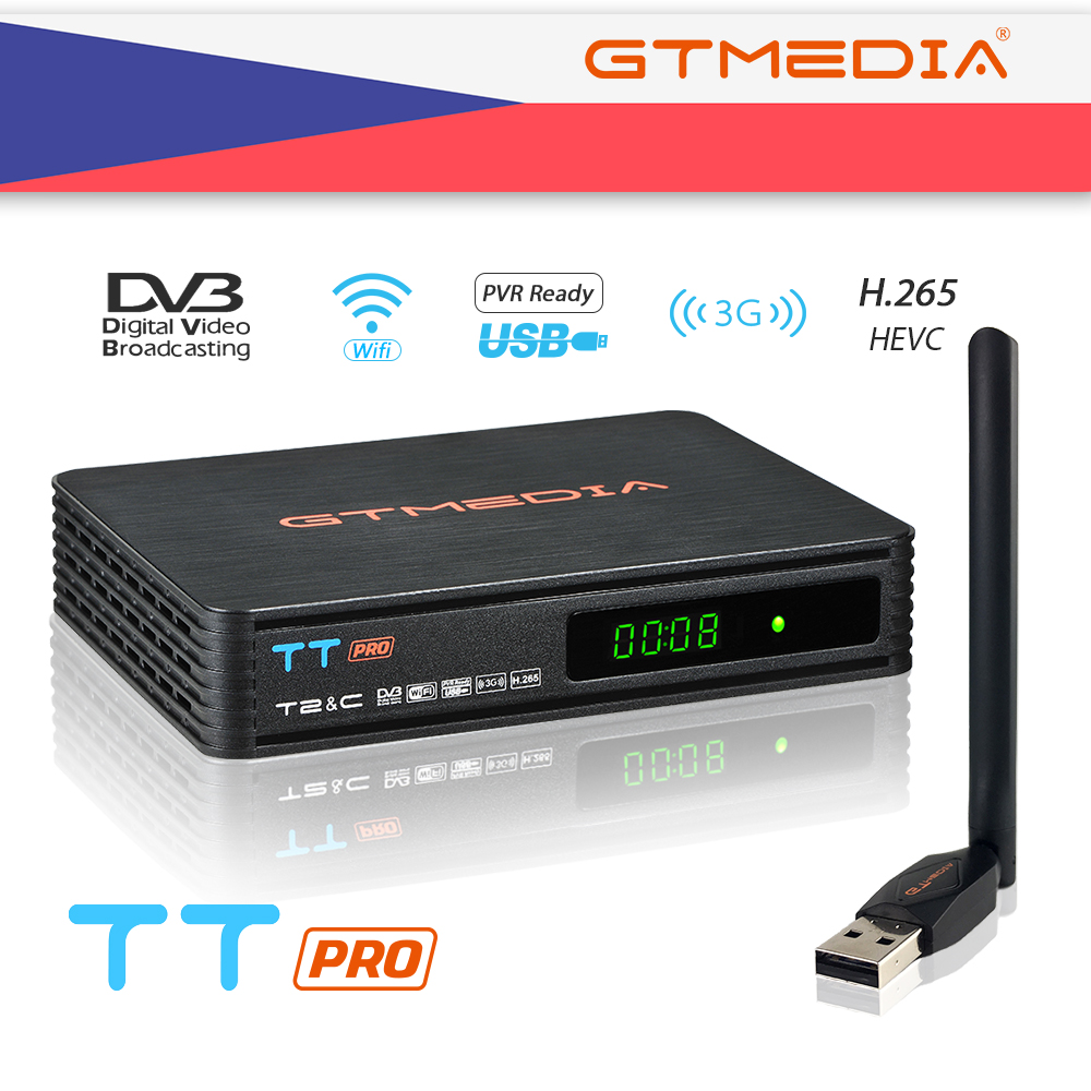 GTMEDIA TT PRO DVB-T2/Cable Set Top Box HD Digital TV Tuner Receptor 1080P +2 Years 5 LINES Support Russia Spain Italy CZ Signal