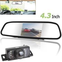 480 x 272 4.3 Inch TFT-LCD Car Rear View Mirror Monitor + 7 IR Lights Camera New