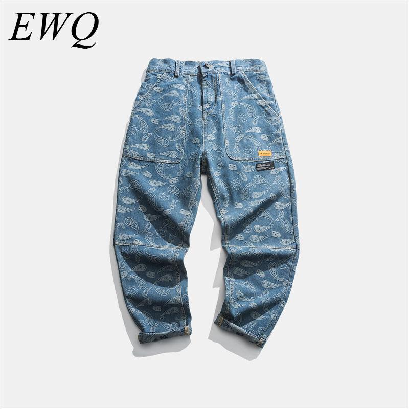 EWQ / Men's Wear 2020 Spring Summer Fashion New Denim Blue Jeans Cashew Flower High Street Hip Hop Directly Trousers Male 9Y934