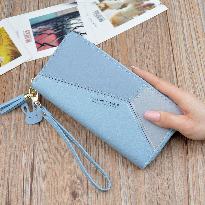 Женский кошелек, сумка для мобильного телефона, фирменный дизайн, Женский кошелек из искусственной кожи, длинные женские кошельки и кошельки, женский тонкий держатель для карт, кошелек - Цвет: 1blue