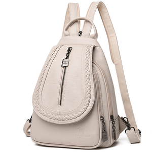 Image 1 - Women Leather Backpacks Zipper Female Chest Bag Sac a Dos Travel Back Pack Ladies Bagpack Mochilas School Bags For Teenage Girls