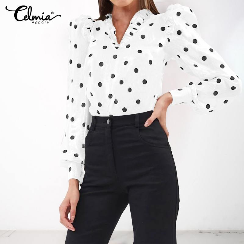 5XL Vintage Blouses Celmia 2020 Women Fashion Polka Dot Print Shirts Sexy V-neck Long Sleeve Ruffles Tunic Tops Casual Blusas 7