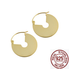 2019 fashion Geometric metallic disc fan 925 silver earrings for women allergy free