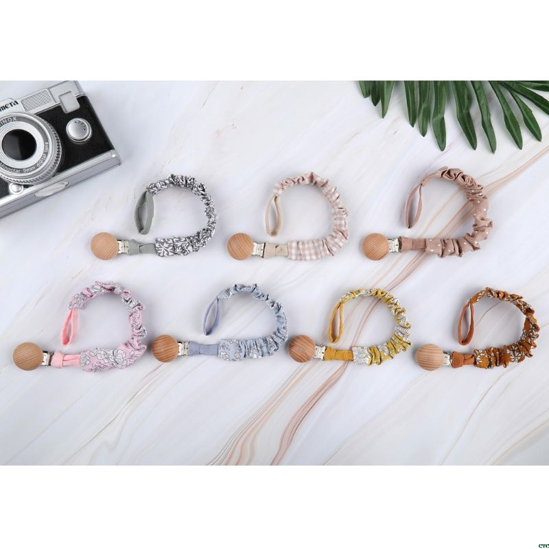 Baby Cotton Pacifier Chain Beech Wood Pacifier Clip Infant Teething Toys Holder For Nipples Baby Teether