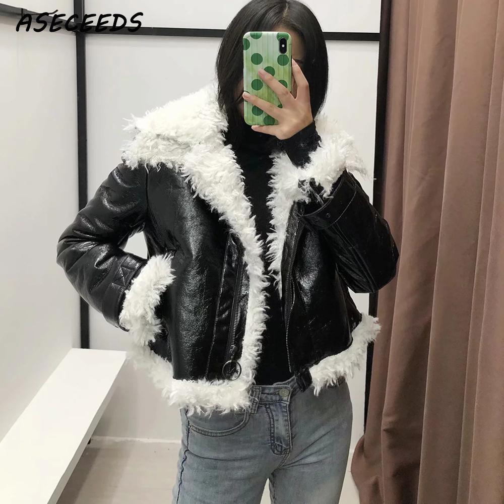 2019 Winter Lamb Faux   Leather   Jacket Women black biker jacket motorcycle jacket coat streetwear punk   suede   jacket Warm Outerwear