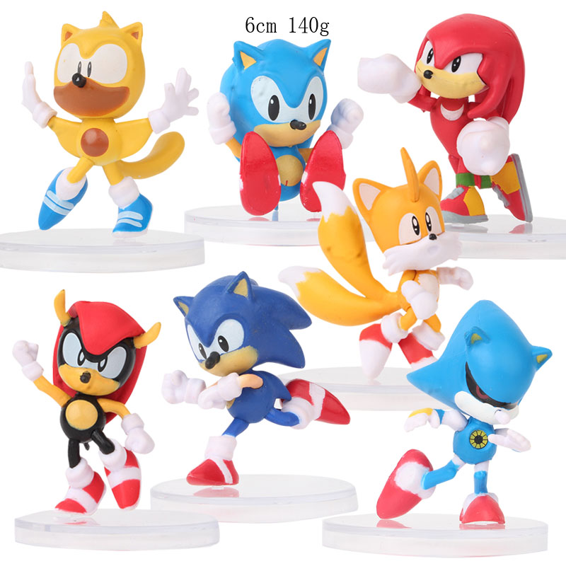 Ohmetoy 7pcs Sonic The Hedgehog Shadow Action Toy Figures Miles Prower Knuckles The Echidna Cake Topping 6cm Collection Action Toy Figures Aliexpress