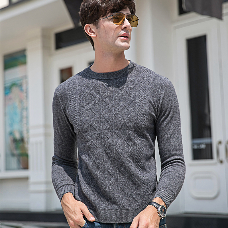 Dusen Klein Men Casual O-Neck Pullover Slim Fit Long Sleeve Shirt Men's Sweaters Knitwear Winter Cashmere Wool Pull Homme 3516
