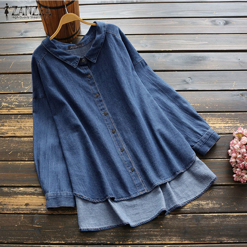 ZANZEA Women Denim Shirts Long Sleeve Casual Irregular Hem Tops Blouses Office Lady Work Blusas Laple Solid Tunic Chemiser Mujer