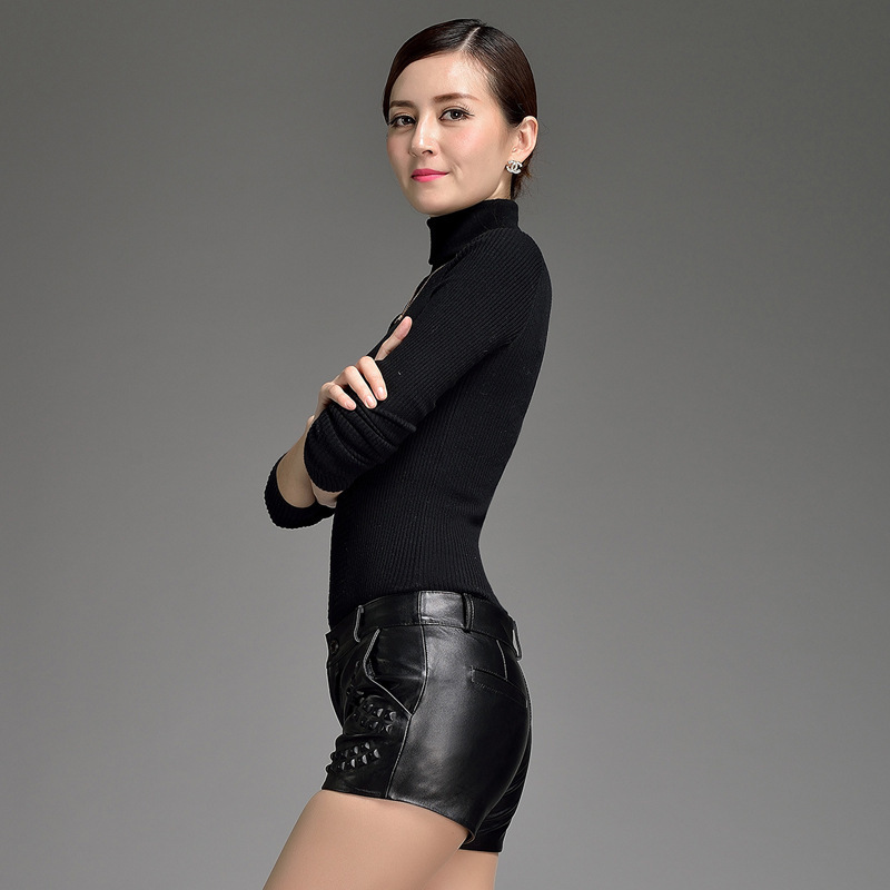 2020 New Fashion Straight Zipper Shorts Women Ladies Black Shorts Loose Genuine Leather Woman Streetwear Shorts Plus Size M-3XL