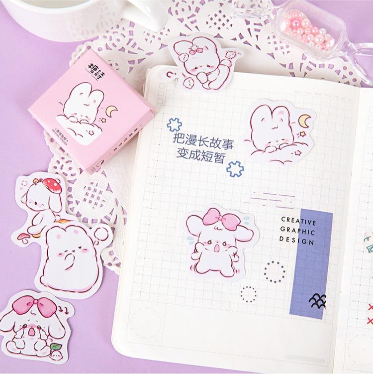 45 шт./кор. в виде милого кролика на каждый день, маленькие милые украшения наклейки планировщик для скрапбукинга канцелярские товары в Корейском стиле наклейки для дневника-4