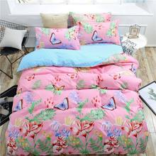 Pink Butterfly 4pcs Kid Bed Cover Set Cartoon Duvet Cover Adult Child Bed Sheets And Pillowcases Comforter Bedding Set 2TJ-61004(China)