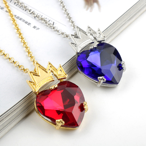 Move Descendants Theme Red Deep Blue Crystal Metal Crown Necklaces For girls Lover Women Gift