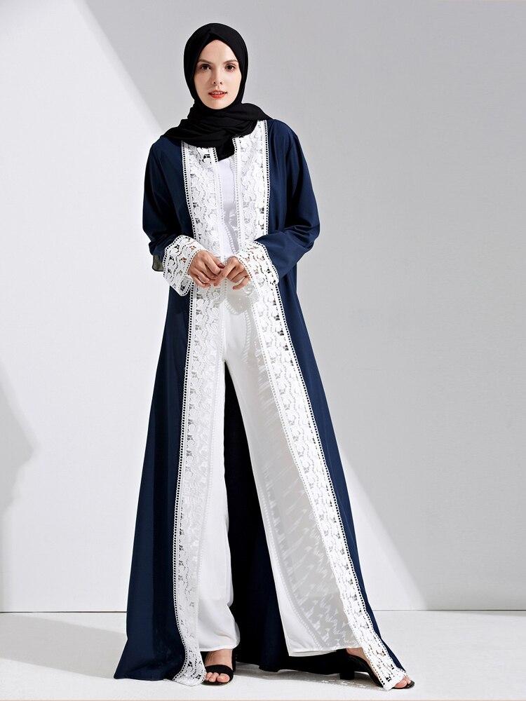 Arab Lace Kebaya Muslim Women Long Party Evening Dress Caftan