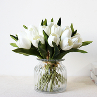 High end 7 head artificial bouquet PU mini tulip feel fake flower plastic decorative flower wedding Table home decoration
