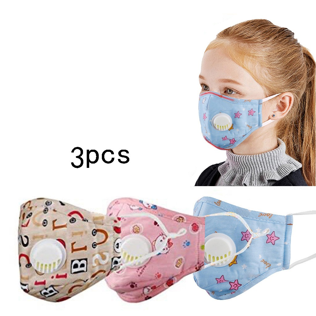 3 PC Kids Anti Pollution PM2.5 Non-woven Dustproof Face Mask Breath Valves Filter Kid Reusable Anti-Dust Mouth Mask Respirator