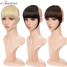 SNOILITE 1pcs Synthetic Clip In Bangs Fringe Hair Extensions Front on