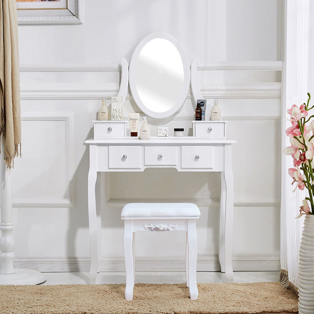 White Vanity Desk With Mirror.Vanity Desk White Vanity Table Makeup Dressing Table Set With Stool Mirror Jewelry Bedroom Furniture Set Us Shipping