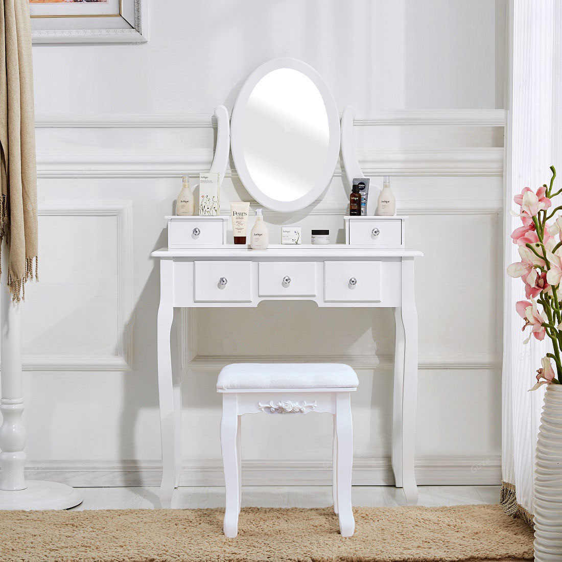 Vanity Desk White Vanity Table Makeup Dressing Table Set With Stool Mirror Jewelry Bedroom Furniture Set Us Shipping Dressers Aliexpress
