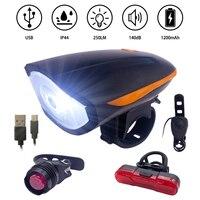 Bocina de seguridad para bicicleta de montaña, faro delantero con luces LED Ciclismo de Carretera con carga USB, resistente a la lluvia, juego de luces traseras