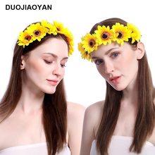 Çapraz sınır sıcak satış yeni kadın bez sanat papatya ayçiçeği ayçiçeği çiçek çiçek yüzük saç çember nokta toptan
